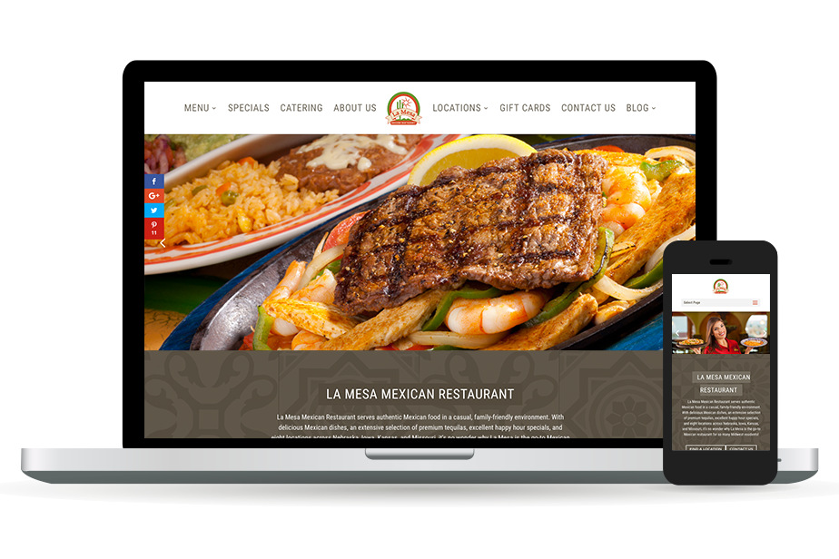 La Mesa Mexican Restaurant Website Homepage