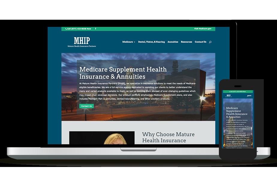 Mature Health Insurance Partners Website Homepage
