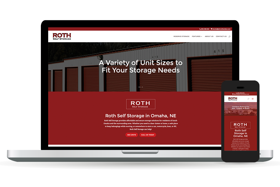 Roth Self Storage Website Homepage