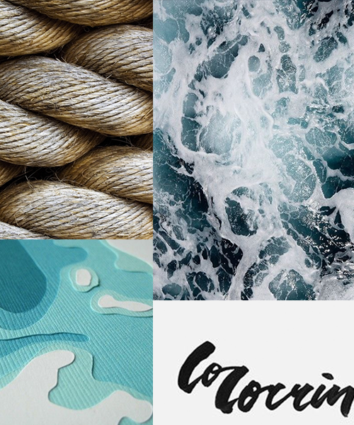 water-based campaign mood board