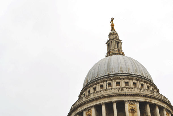 the dome and cross on top of St. Paul's Cathedral in London