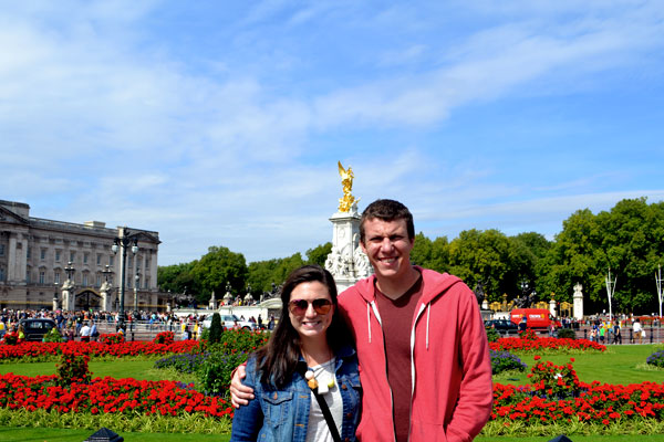 Cale and I in front of Buckingham Palace in London