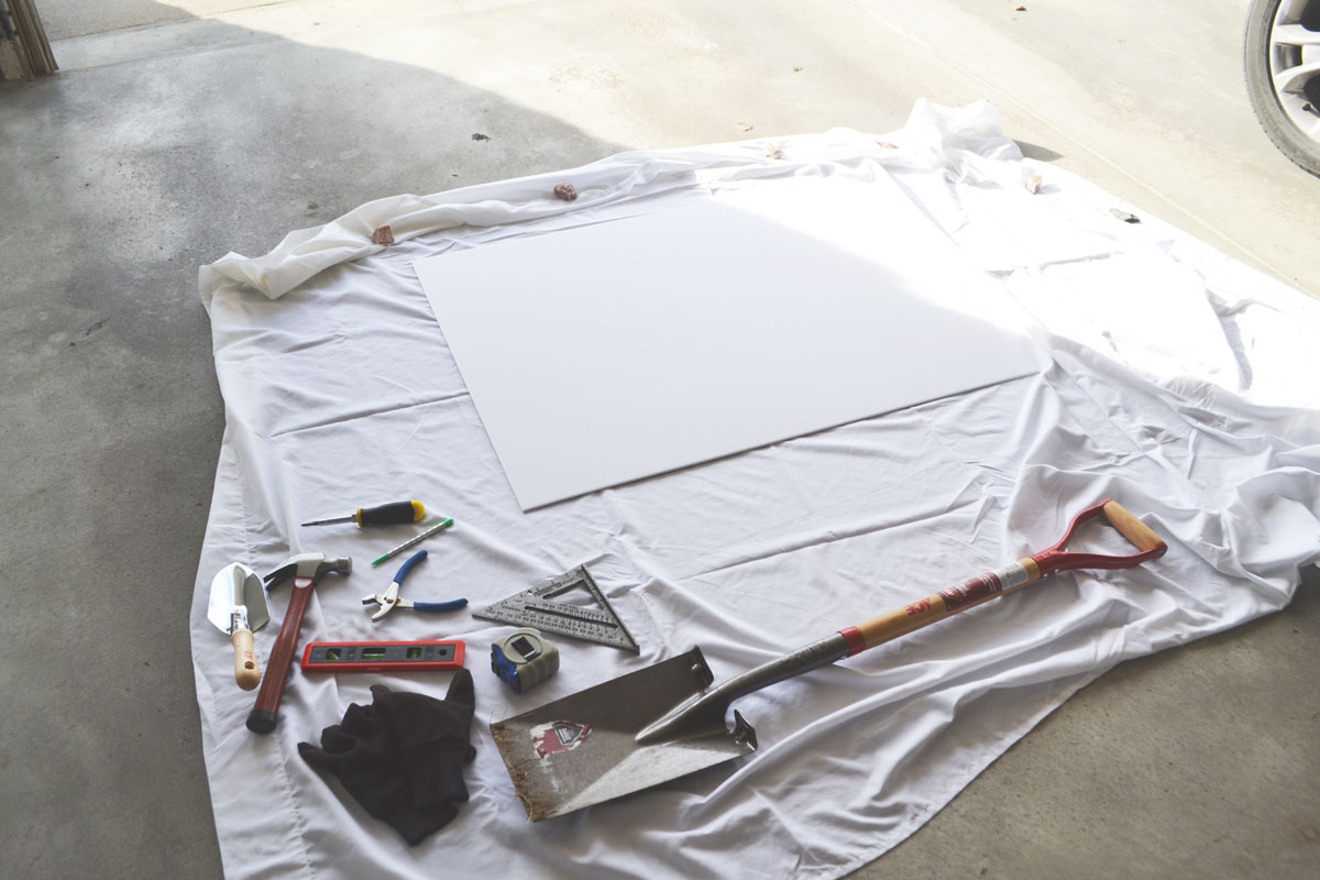 blank poster board before lettering project